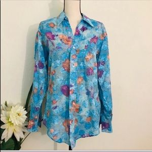 TRACY FEITH Floral Long Sleeve Shirt Size Large